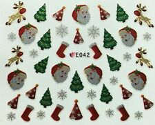 Christmas Nail Art Stickers Silver Snowflakes Rudolph Santa Tree Stocking (E42)