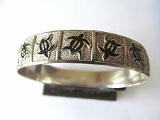 ANTIQUE LARGE HAWAIIAN STERLING SILVER 925 w/TURTLES ETCHING BANGLE BRACELET