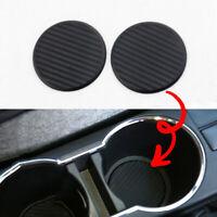 Black Car Auto Water Cup Slot Non-Slip Carbon Fiber Look Mat Accessories 2Pcs