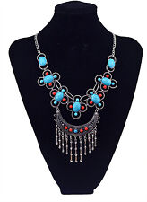 New Design Bohemia Ethnic Tribal Silver Plated Colorful Gem Tassel Necklace