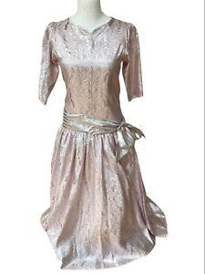 Caroline Charles Long Full Ballgown Evening Dress Pink & Silver Drop  Waist 12