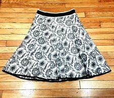 Monsoon Black White Linen Skirt Embroidered Floral Detail Lined BOHO GYPSY UK 8