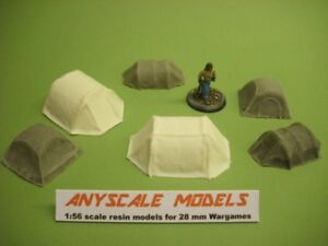 Wargames scenery. 6 piece modern tents. 1/56 for 28mm (883)