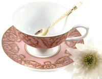 TEA CUP & SAUCER English Pink Regency Porcelain Afternoon Tea Party