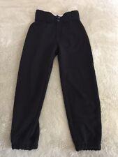 Easton Boys Black Baseball Pants Snaps Belted Elastic Waist Small