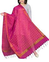 Indian Stole Women's Art Cotton Silk Dupatta Zari