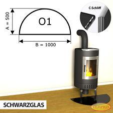 Temprix Funkenschutz & Glasbodenplatte | Glasplatte schwarz für Kamin & Ofen