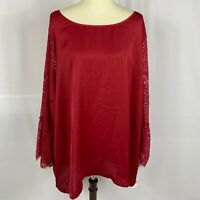 John Paul Richard womens tunic top plus size 3X red flare lace sleeves new