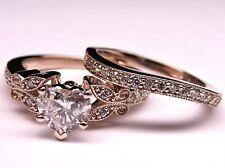 Heart Shape Diamond Butterfly Vintage Engagement Wedding Ring 14k Rose Gold Over