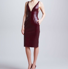 Pre-owned J Mendel Leather Deep V Neck Purple Plum Leather Cocktail Dress size 4