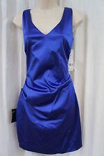 Nicole Miller Petite Dress Sz 12P Blue Satin Sleeveless Ruche Evening Cocktail