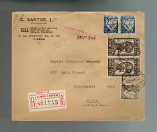 1935 Lisbon Portugal Registered cover to USA Red Wax Seal