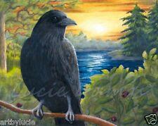 Art Print 8x10 Bird 63 Crow Raven from original painting by L.Dumas