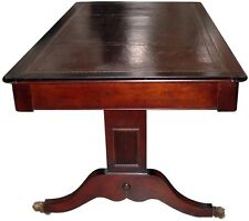 English Sheraton Mahogany Library Table w/Leather Top #1056
