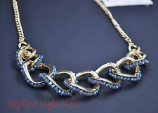 Kenneth Cole Necklace Chunky Chain Link with Blue Color Glass Crystals New