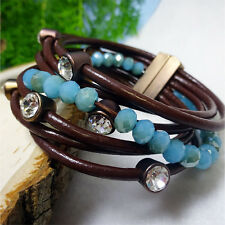 Multi-Strand Brown Leather CZ Stud with Blue Stone Strand