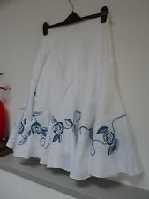 Ladies Fab Per White Linen Embroiderd Floral Below Knee Panel Skirt Size 8, Vvgc