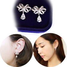 Women Crystal Rhinestone Silver Plated Bow Earrings Zircon Pendant Ear Studs