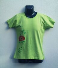 Glitter Rose Bling Green Petals Stem women's Lime Green T-Shirt and MEDIUM