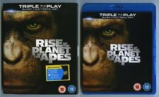 RISE OF THE PLANET OF THE APES - UK Blu-Ray + DVD + Digital Copy + SLIPCOVER