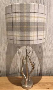 Handmade Lampshade In Voyage Berridale Beige Mustard Check Tartan 20cm