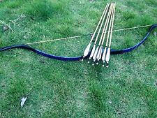 New blue Handmade longbow 20# -60# Archery recurvebow+6 wooden arrow recurve bow