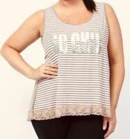 Womens plus size vest top 18/20 22/24 26/28 30/32 Striped Lace Logo T-shirt 268