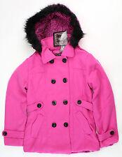 YMI Girls Double Breast Wool Coat Peacoat Detachable Faux Fur Hood Pink Large 14