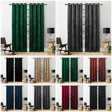 Thick Crushed Velvet Curtains PAIR of Eyelet Ring Top Fully Lined Ready Made