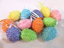 "Easter Pastel SPARKLE Eggs Egg 1.75"" Ornaments Tree Decorations Set of 12"