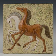 Westraven Utrecht Luigi Amati:large heavy reliëf tile, horses, 70's.