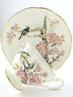 Vintage Teacup Saucer Queen Anne Fine Bone China England Cherry Blossoms T007