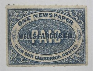 1860's US Local Wells Fargo Newspaper Stamp 143LP5 Rouletted Genuine