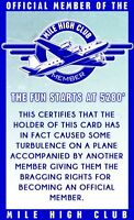 mile high club   - plastic ID card Drivers License -