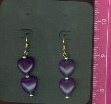 """Amethyst 12mm Heart Earrings w/ 14k/20 G.F. Hooks Beads & Head Pins Appx 2"""" NEW"""
