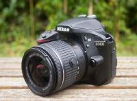 Nikon D3400 24.2MP Digital SLR Camera (Kit w/ 18-55mm Lens, Black) and Extras