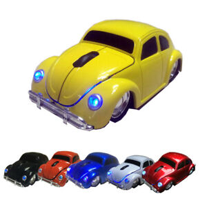 New beetle Car Wireless Mouse Game Mice 2.4GHZ USB LED for pc Mac Laptop Yellow