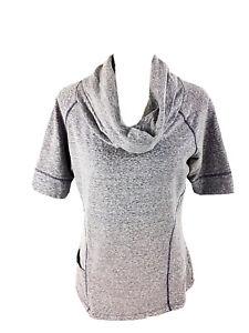 Athleta Coronada Cowl Neck Athletic Top Medium Heather Purple Short Sleeve