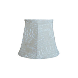 """Beige White Script Letters Clip On Soft Fabric Lamp Shade - 4"""" x 6"""" x 5"""""""