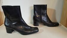 NINE WEST ADENAO Black Leather Full Side Zip Mules Heels Ankle Boots Size 6M
