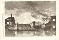 1857 ANTIQUE PRINT- FIRE AT CAMDEN TOWN STATION OF LONDON AND NORTH WEST RAILWAY