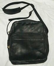 Le DONNE LEATHER COLLECTION BLACK  ADJ. SHOULDER BAG WITH ZIPPERED COMPARTMENTS