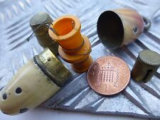 Antique solid brass and enamel Etui needle thread and thimble case German made