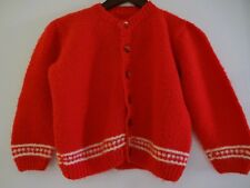 Vintage Child Sweater Red Cardigan Holiday Boy Girl, Size & Material Unknown