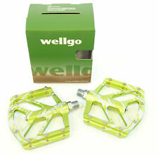 Wellgo B252 Mag Magnesium Low Profile Mountain Bike Pedals, Green, 155g Light