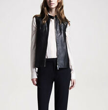 THE ROW $2,100 quilted black soft lamb leather moto biker vest jacket 4-US/40-IT
