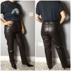 VTG Angels Dark Brown Faux Leather Mom Style Jean Look Trousers UK 10 12