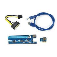 HD_ USB3.0 PCI-E Express 1x to 16x Extender Riser Card Adapter SATA 4Pin Power B