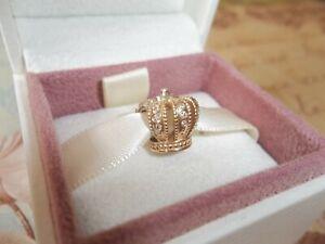 Genuine Authentic Pandora 14ct Gold Diamond Crown Charm 750453D G585 ALE