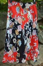 Lily White Sz SMALL / S  Red Multi-Color FLORAL Skirt Knee Length Career
